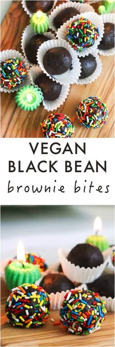Vegan Black Bean Brownie Bites are fudgy with the right the amount of sweetness and despite being flourless (hello black beans!) - it's a perfect bite for your sweet tooth. #glutenfree #vegan