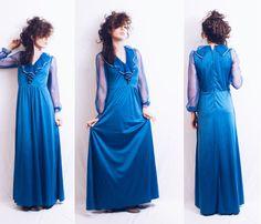 Vtg 70s does 30s Disco Navy Blue & Gold Metallic Maxi Dress by MoveBabyVintage on Etsy https://www.etsy.com/listing/273901148/vtg-70s-does-30s-disco-navy-blue-gold