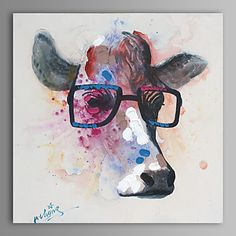 Oil Painting Modern Abstract Cow Hand Painted Canvas with Stretched Frame 2016 - $79.99