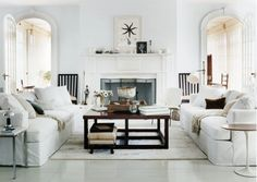 Chic Cottage Living Room - Design photos, ideas and inspiration. Amazing gallery of interior design and decorating ideas of Chic Cottage Living Room in living rooms by elite interior designers. Coastal Living Rooms, Living Room White, Home And Living, Living Spaces, Modern Living, Luxury Living, Condo Living, Modern Sofa, Modern Bedroom