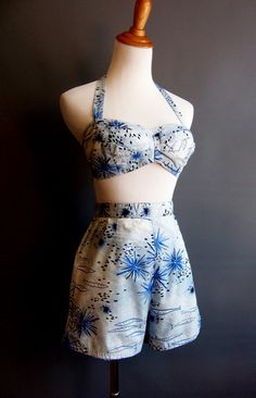 1950s Hawaiian novelty print two-piece pinup playsuit, excellent condition Label: Made in Honolulu for Bullock's of Pasadena by Kahala (who are still in