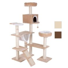 Gingerbread House Cat Tree with Ladder offers scratch mats, sisal posts, sleeping areas and a hammock for your cat, as well as easy access for all cats. Hamsters, Cuddle Bed, Cat Climbing, Support Mural, Cat Room, Cat Accessories, Scratching Post, Wall Brackets, Cat Tree