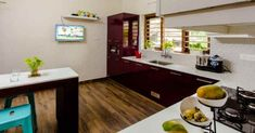 green-home-kitchen Beautiful Kitchens, House Design, Indian Home Decor, Living Room Kerala, Kitchen Decor, House Styles, House Interior, Home Kitchens, Kitchen Dinning