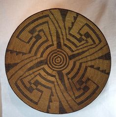 "Very large Pima basketry bowl is 22 1/2"" diameter and 6"" deep.!  This willow and devils claw basket was woven circa 1880-1910."