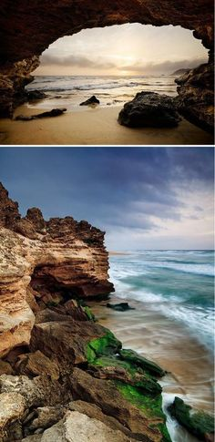 Sedgefield - South Africa: Erosion The sea slowly erodes the sandstone rocks at Sedgefield beach in the Garden Route of South Africa. Places Around The World, Oh The Places You'll Go, Places To Travel, Places To Visit, Around The Worlds, Pretoria, Knysna, Out Of Africa, Africa Travel