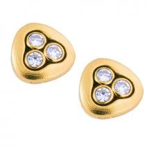 Swirling Water Stud Earring created in 18 karat yellow Gold with .24 carat total weight Diamonds by Alex Sepkus.