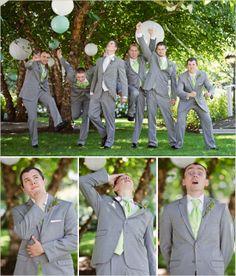 gray and celery green groomsmen