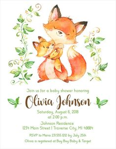 Woodland Fox baby shower invitations featuring a watercolor mother fox cuddling her baby. For lightning fast service, order a digital file or Click or call Announce It! to order our professionally printed baby shower invitations. Custom Baby Shower Invitations, Baby Shower Invites For Girl, Baby Shower Fun, Baby Shower Themes, Baby Boy Shower, Wedding Invitations, Shower Party, Fox Baby, Woodland Theme