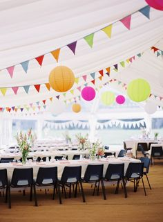 Bunting, paper lanterns and twinkly lights