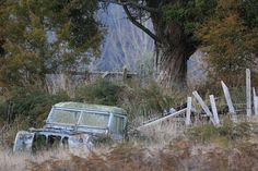 Kakahi Moss and Lichen Growing on an Abandoned Landrover Put Out to Pasture New Zealand Abandoned Cars, Abandoned Places, Steel Girder, Timber Companies, Bichon Dog, Car Barn, Bug Out Vehicle, King And Country, Old Farm Houses