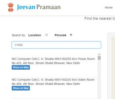 How to find the nearest location of a Jeevan Pramaan Centre & contact address.