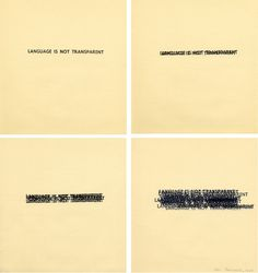 LANGUAGE IS NOT TRANSPARENT, 1969  Rubber stamp on four sheets of paper, 7.25 x 6.75 inches