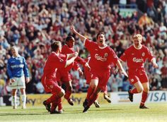 Robbie Fowler celebrates scoring against the Blues at Anfield in April 1999