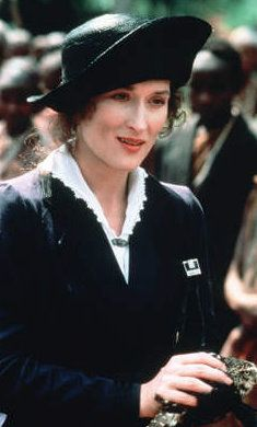 Meryl Streep in beautiful costumes, 'Out of Africa', Costume Design:  Milena Canonero (Turin, Italy, 1946)  an Italian costume designer, working both for films and stage productions. She has won three Academy Awards for Best Costume design, and been nominated for it eight times.