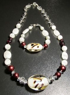 """18"""" Glass & Crystal Brown White Crackle Beaded Necklace with matching Bracelet 7.5"""" http://www.shop.donnasjewelryboxdallas.com/"""