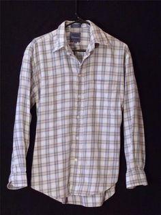 Mens Medium Faconnable Dress Shirt Long Sleeve Blue Plaid Button Front