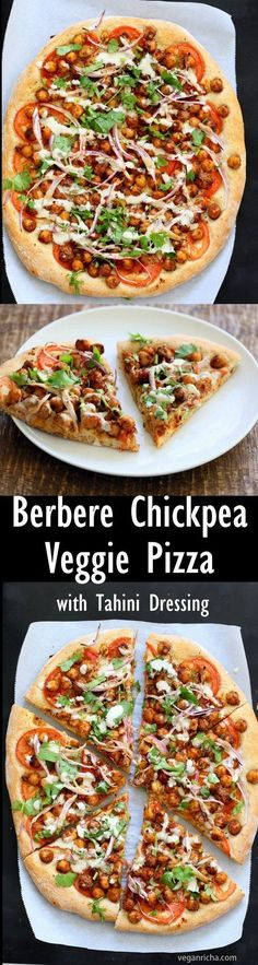 Ethiopian Berbere Chickpea Pizza with Tahini Garlic Dressing. Amazingly flavorful pizza. Dress with tahini dressing, vegan ranch or other creamy dressing. #Vegan #Soyfree #Nutfree #Recipe. #Glutenfree Crust option #veganricha | http://VeganRicha.com