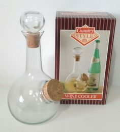 Vintage Country Style Glass Wine Cooler Carafe Hand Made Blown Glass Vintage Country, Country Style, Wine Decanter, Blown Glass, Carafe, Wine Glass, Kitchen, Handmade, Rustic Style
