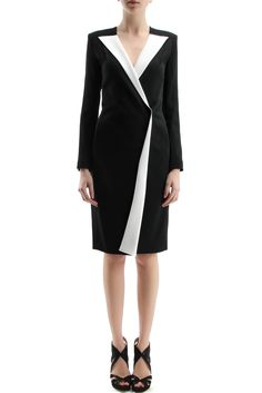81da670770 Beautiful black and white robe manteau - ROLAND MOURET - Auriga robe  manteau with sloping zipper