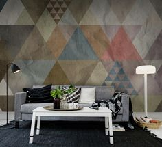 Quadrangle, in a pale palette, is a watercolor design of geometrics on wrinkled paper.