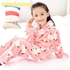 81b52fe0c2 Autumn Winter Children Fleece Pajamas Warm Flannel Sleepwear Girls  Loungewear Coral Fleece Kids pijamas Homewear Winter Pyjama