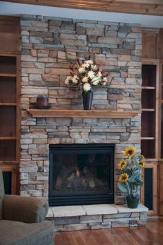 8 Fortunate Tips: Stone Fireplace Makeover fireplace decorations pictures.Fireplace And Tv Flat Screen Tvs log burner fireplace with lights. Fireplace Redo, Small Fireplace, Farmhouse Fireplace, Fireplace Remodel, Fireplace Ideas, Fireplace Stone, Rustic Farmhouse, Fireplace Doors, Fireplace Mantels