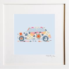 Mini Cooper Floral Print by Helen Magee Hairy Fruit Art Framed Prints, Art Prints, Fruit Art, Pigment Ink, Colour Schemes, Watercolor Paper, All The Colors, Floral Prints, Wall Art