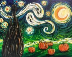 Painting Parties & Classes in Fayette Mall - Paint & Sip Events - Van Gogh's Starry Night – Halloween - Halloween Rocks, Theme Halloween, Vintage Halloween, Halloween Crafts, Halloween Halloween, Halloween Trivia, Halloween Decorations, Halloween Costumes, Halloween Images