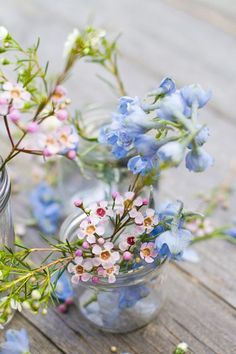 A beautiful posy of flowers in a glass jar. I love spring flower arrangements and these are super simple and pretty