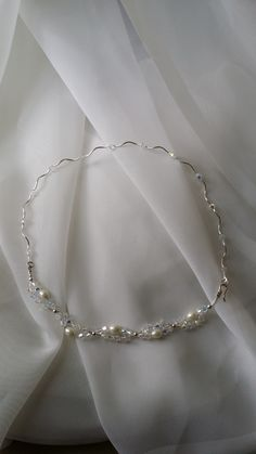 Sterling Bridal Necklace  Pearl and Swarovski Crystal hand crafted design