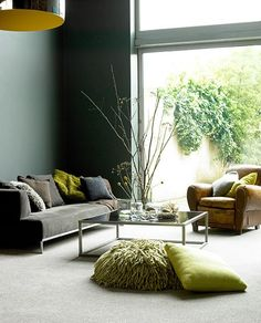 Gray and dark green living room grey and green living room green paint with gray furniture . gray and dark green living room Living Room Green, My Living Room, Home And Living, Living Room Decor, Living Spaces, Beige Carpet Living Room, Room Carpet, Modern Living, Living Area