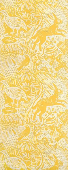 Harvest Hare Wallpaper Excellent lino print wallpaper with Mark Hearld rabbit and bird design in Corn Yellow. Harvest Hare Wallpaper Excellent lino print wallpaper with Mark Hearld rabbit and bird design in Corn Yellow. Bird Wallpaper, Wallpaper Decor, Print Wallpaper, Bedroom Wallpaper, Wallpaper Ideas, Kitchen Wallpaper, Mustard Wallpaper, Rabbit Wallpaper, Dance Wallpaper