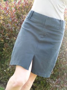 Making a skirt out of a pair of pants. Awesome idea, and this pair of pants made a really cute skirt!
