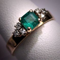 Antique Emerald Diamond Wedding Ring Vintage by AawsombleiJewelry, $1850.00
