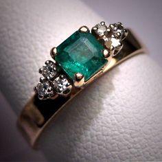 Antique Emerald Diamond Wedding Ring Vintage by AawsombleiJewelry, $1850.00