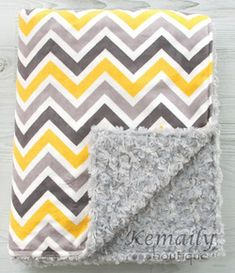 Yellow Grey Multi Chevron Double Minky Baby Blanket - Also available in Adult Blankets too.