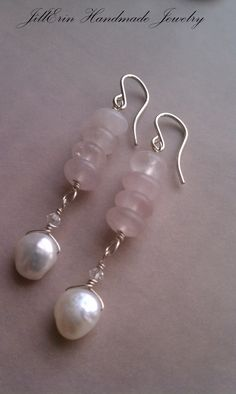 Sterling Silver Small Hooks with Rose Quartz por jillerinjewelry