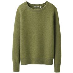 UNIQLO Women Mohair Blended Sweater ($20) ❤ liked on Polyvore featuring tops, sweaters, jumpers, shirts, shirt sweater, green jumper, uniqlo shirts, wide neck sweater and green sweater