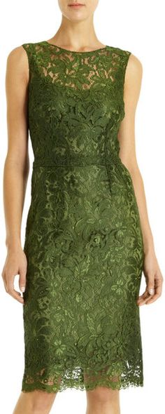 Dolce & Gabbana Lace Crewneck Sheath Dress in Green - Lyst