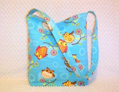 Owl Tote Bag Owls Hobo Bag  Aqua Blue Eco by BizzieLizzieHandmade, $28.00