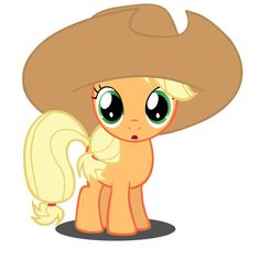 Filly Applejack with her hat! So cute! I love pictures of them when they're fillies.