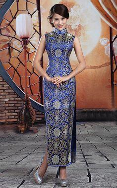 Gold flowers brocade blue traditional sleeveless Cheongsam dress | Modern Qipao