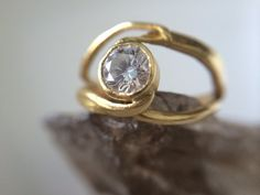 18kt Gold Conflict Free Diamond Engagement by MelissaTysonDesigns