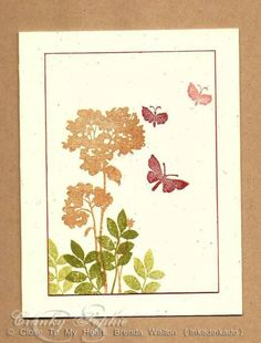 handmade card ... soft natural colors ... luv the shading/coloring done with solid silhouette stamps ... flowers and butterflies ...