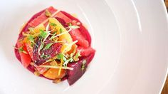 Roasted Beet Salad with Farro Verde and Beet Vinaigrette recipe | Food ...