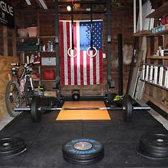 home garage gym rogue fitness crossfit american flag