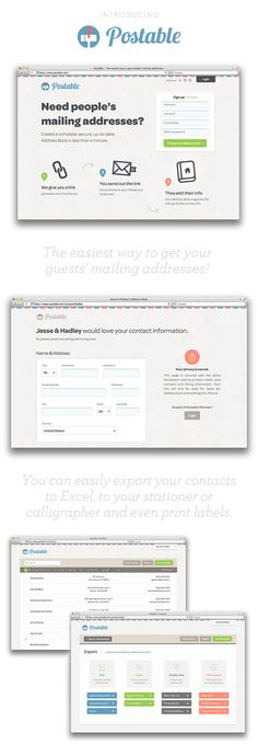 Postable has created an insanely easy way to get you guests' mailing addresses, and it is completely free, private and secure!