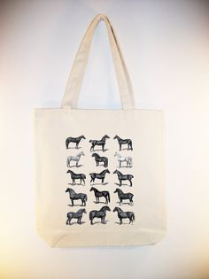 Vintage Horses illustration on 15x15 Canvas Tote -- other bag sizes available on Etsy, $12.00