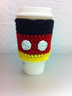 Mickey Mouse inspired Coffee Cozy, fits most retail coffee cups for a fun, green sleeve! With the matching Minnie inspired Coffee Cozy, only $20 for the pair! www.facebook.com/RibbitsAndBows