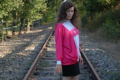 Flashy pink and white 80's sweater by SiilverPlanet on Etsy